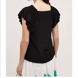 Anthropologie Maeve Black Epaulet Black Top Size 8
